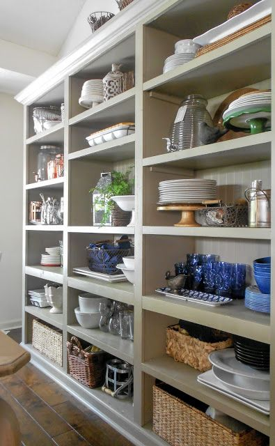 17 Ideas About Open Pantry On Pinterest: I Absolutely Love These Open Shelves In The Dining Room