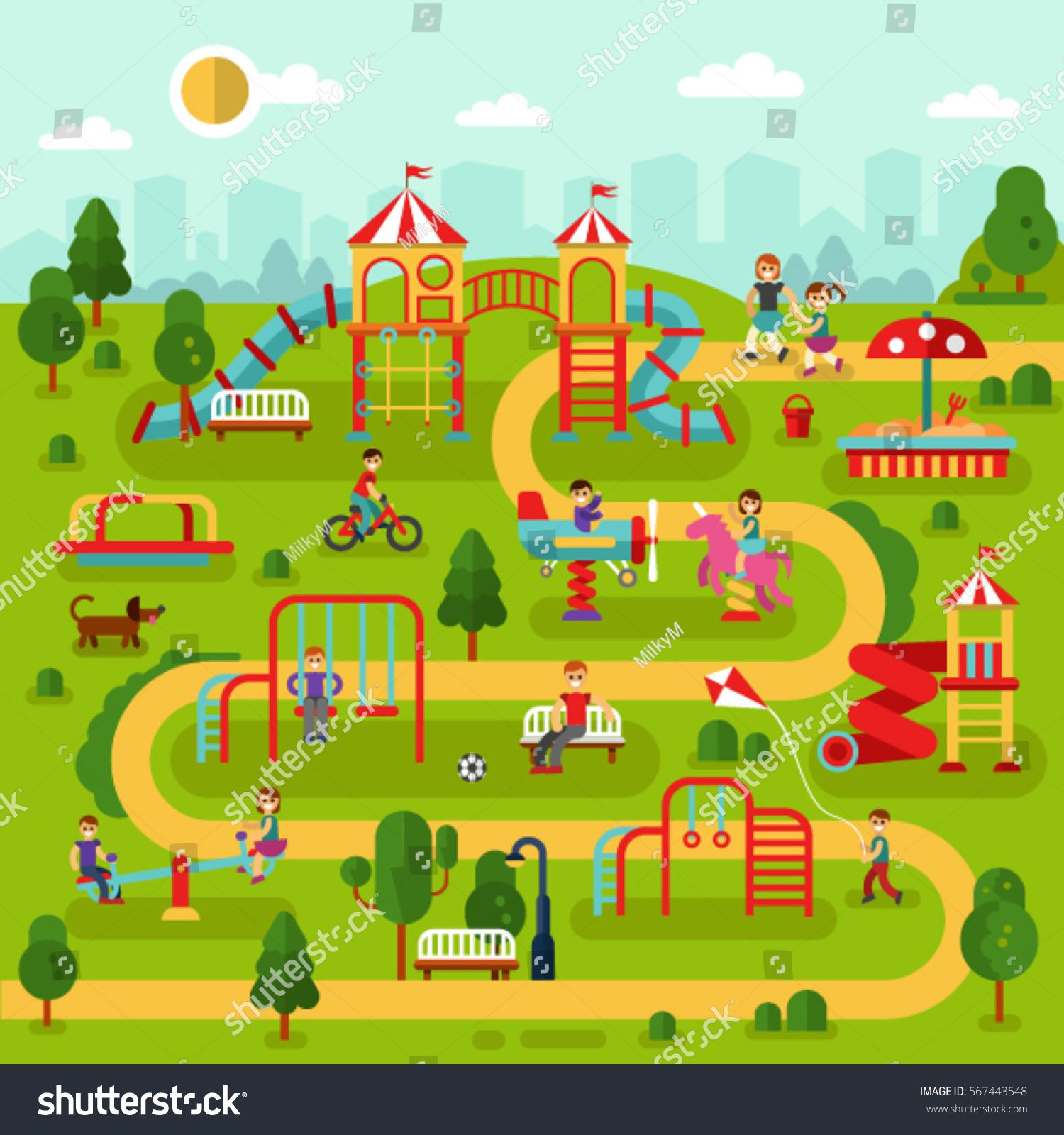 Flat Design Vector Landscape Illustration Of Park Map With Kids Playground And Attractions Infographic Design Illustration Infographic Landscape Illustration