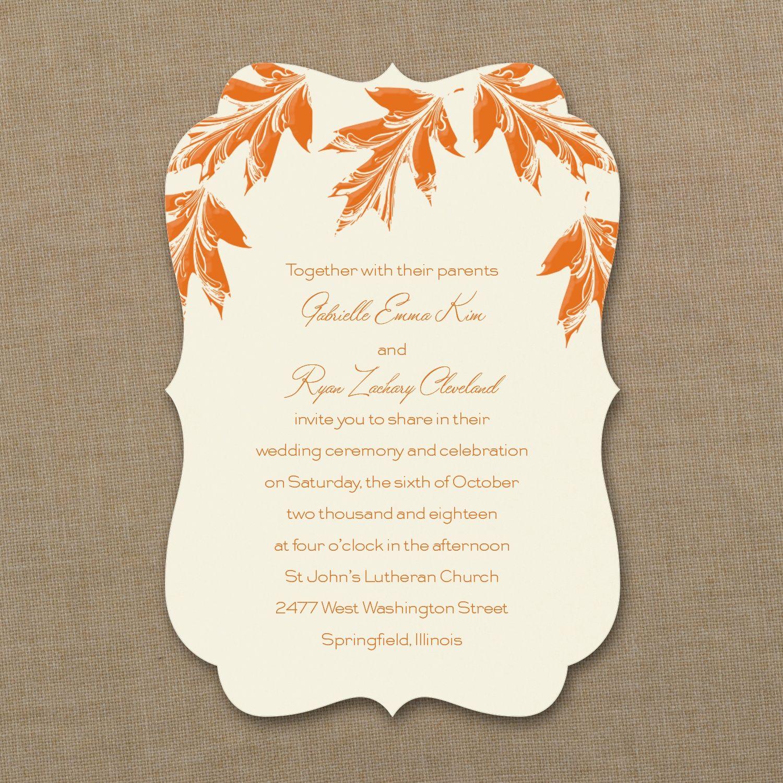 Carlson Craft Pocket Wedding Invitations: Leaf It To Romance - Invitation - Ecru