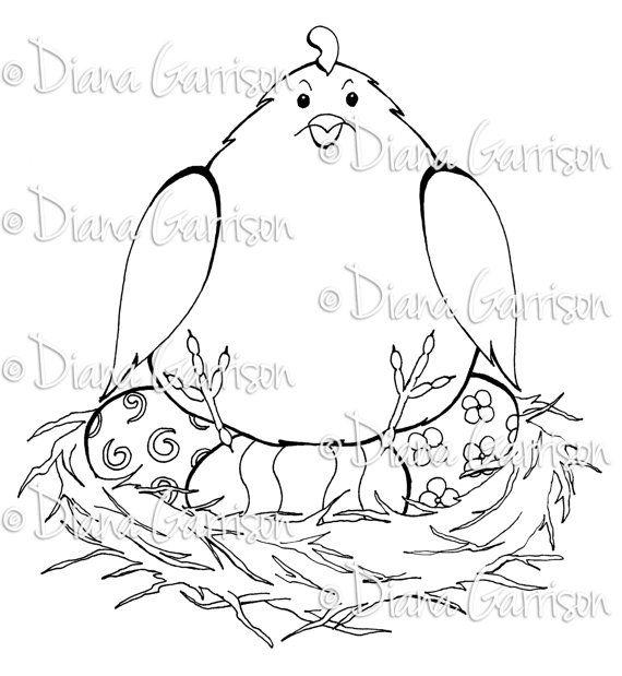 Easter Chicken Digi Digital Stamp
