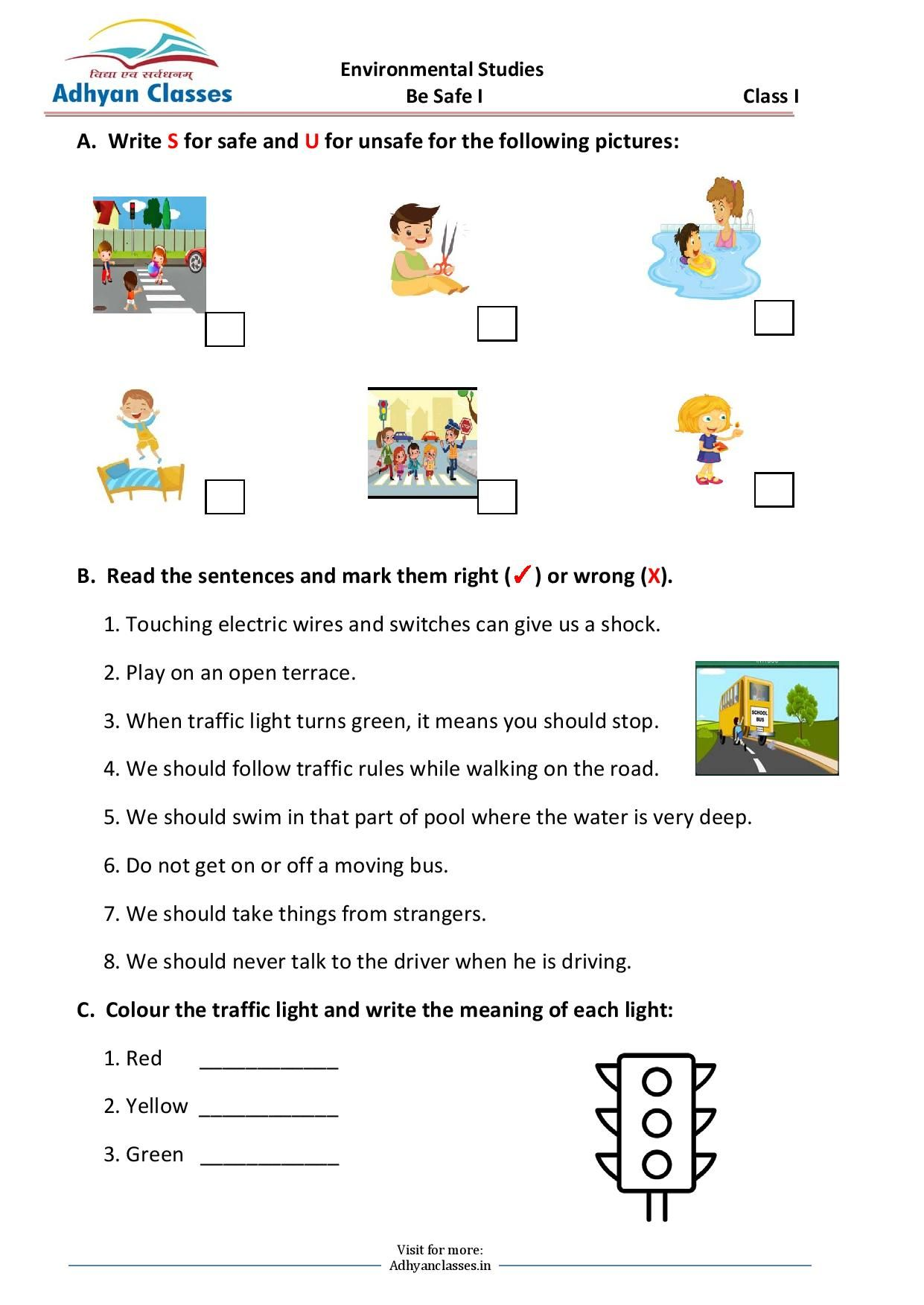 small resolution of Be Safe Worksheet for Grade I   English writing skills