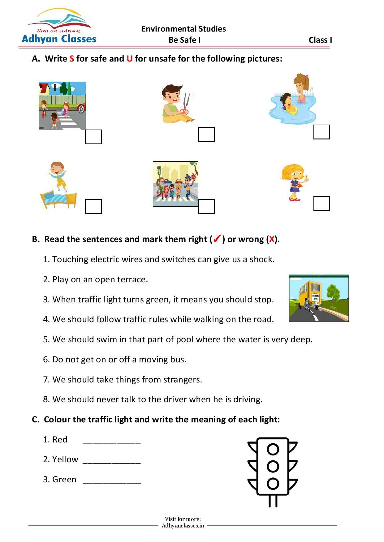 Be Safe Worksheet for Grade I   English writing skills [ 1753 x 1241 Pixel ]