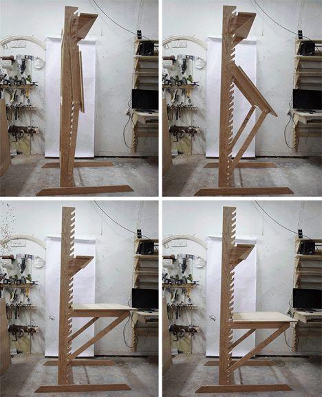 huge discount 5a359 98d1c Frey Desk : The CNC-cut wooden desk goes from a sitting desk ...