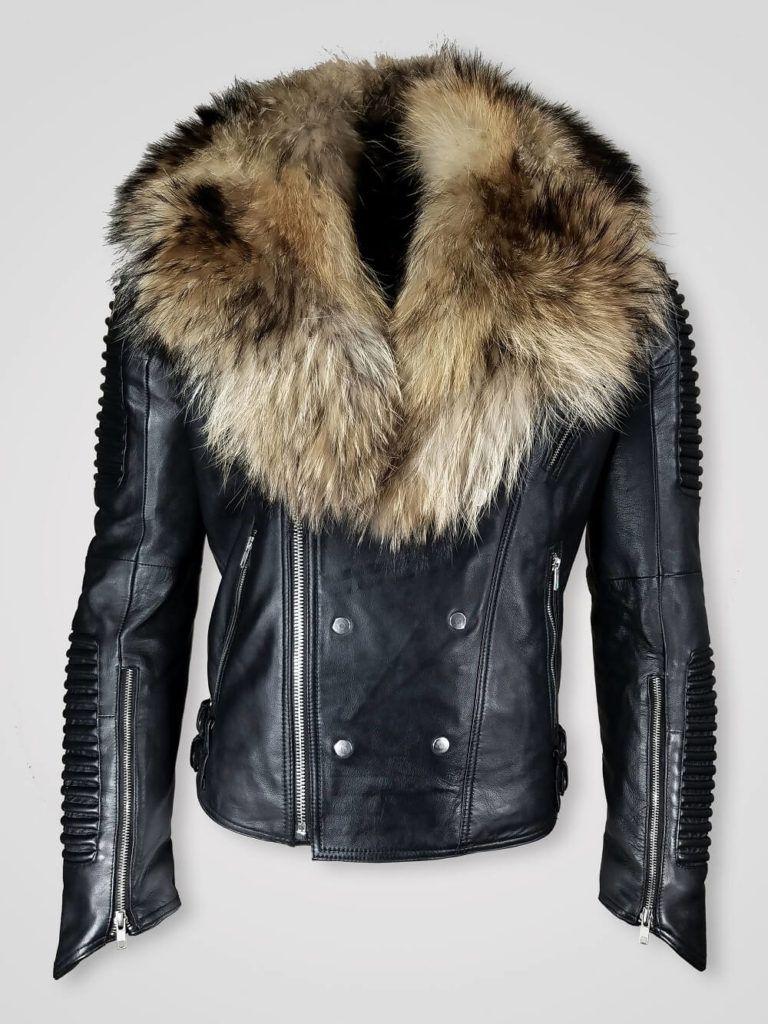 Men's musical rapper jacket with detachable raccoon fur