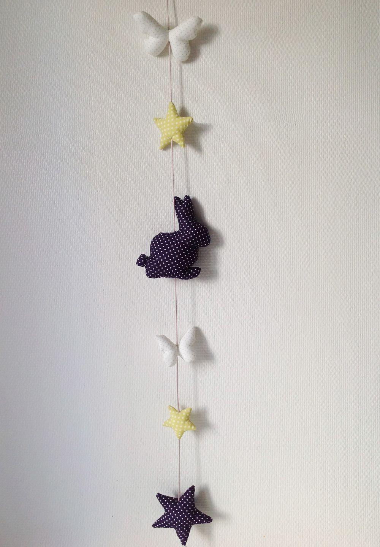 guirlande de tissus lapin violet pour chambre d 39 enfant d coration pour enfants par les idees. Black Bedroom Furniture Sets. Home Design Ideas