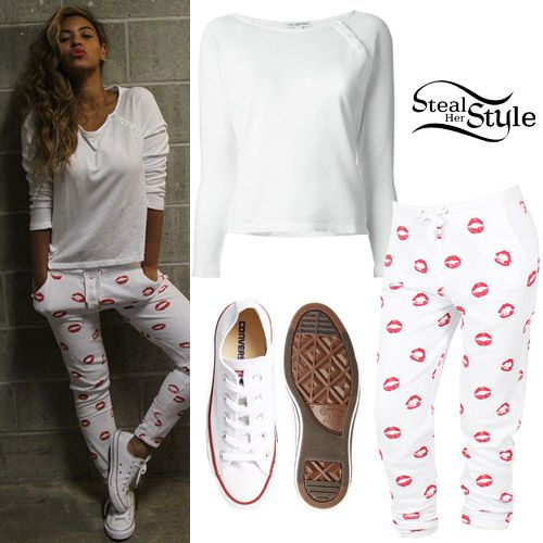 Beyoncé posted a picture today wearing a James Perse Button Detail Longsleeved T-Shirt ($156.34), Zoe Karssen Kiss Loose Fit Sweat Pants ($72.50) and a pair of Converse Chuck Taylor Classic Sneakers ($50.00).