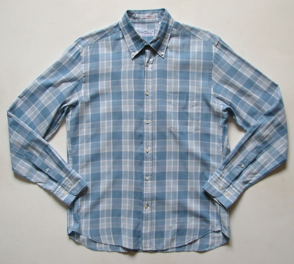 GANT RUGGER MENS M medium INDIGO MADRAS PLAID BUTTON DOWN SHIRT #GANT #ButtonFront