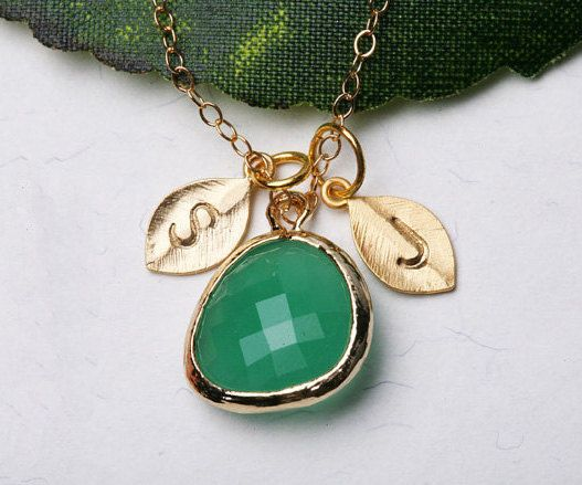 Custom Two leaf initial necklace,gold fill necklace,Couple,stone in bezel,monogram, $34.00, via Etsy.