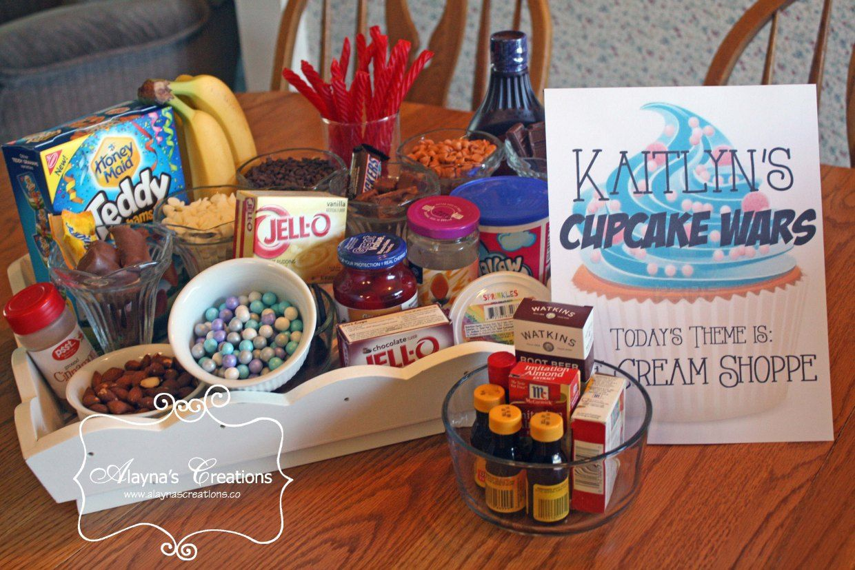 Cupcake Wars Birthday Party Ice Cream Shoppe Theme includes supplies for all sort of your favorite ice cream flavors
