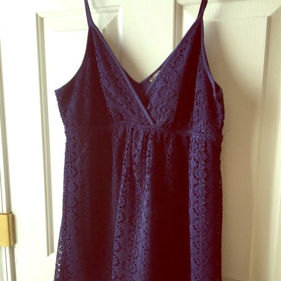 Navy Eyelet Tank Navy V-Neck Plunge eyelet tank from Express.  Never worn. Express Tops Tank Tops