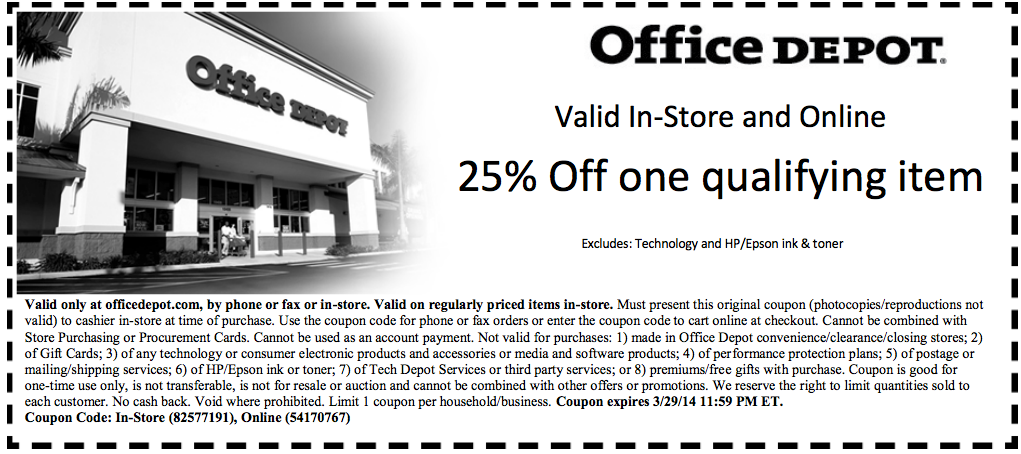 Office Depot 25 off Item Printable Coupon Printable