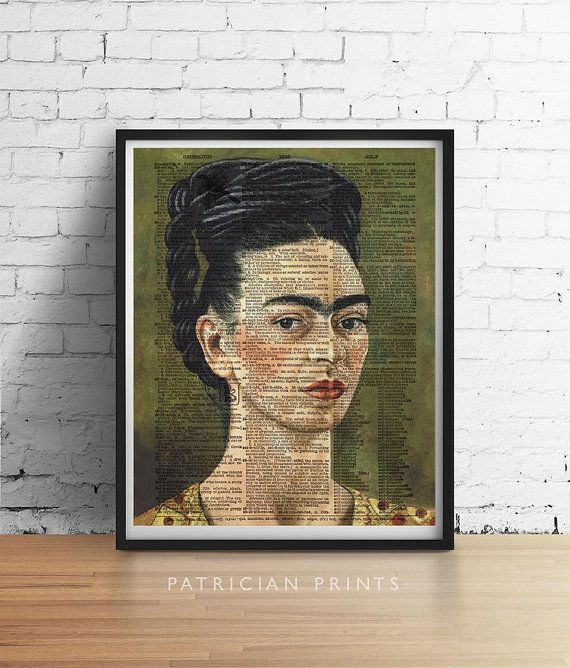 FRIDA KAHLO Print Artist Portrait Dictionary by PatricianPrints