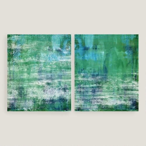 Green and blue wall art set of 2 by world market canvas artworkcanvas