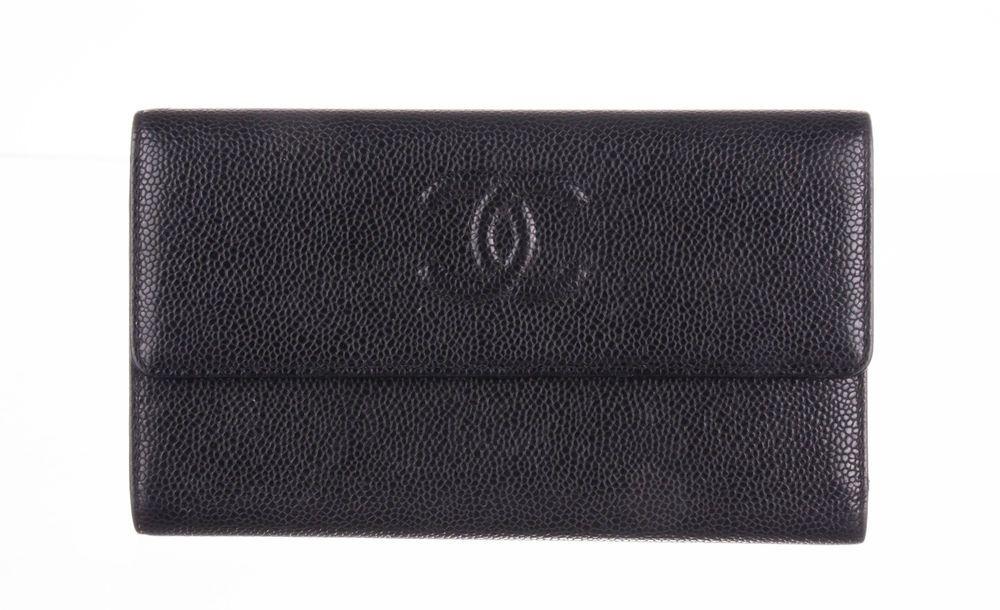 Chanel black caviar timeless cc continental flap wallet