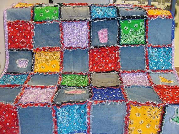 Bandana Denim Rag Quilt | Rag quilt, Bandanas and Craft : rag quilt curtains - Adamdwight.com