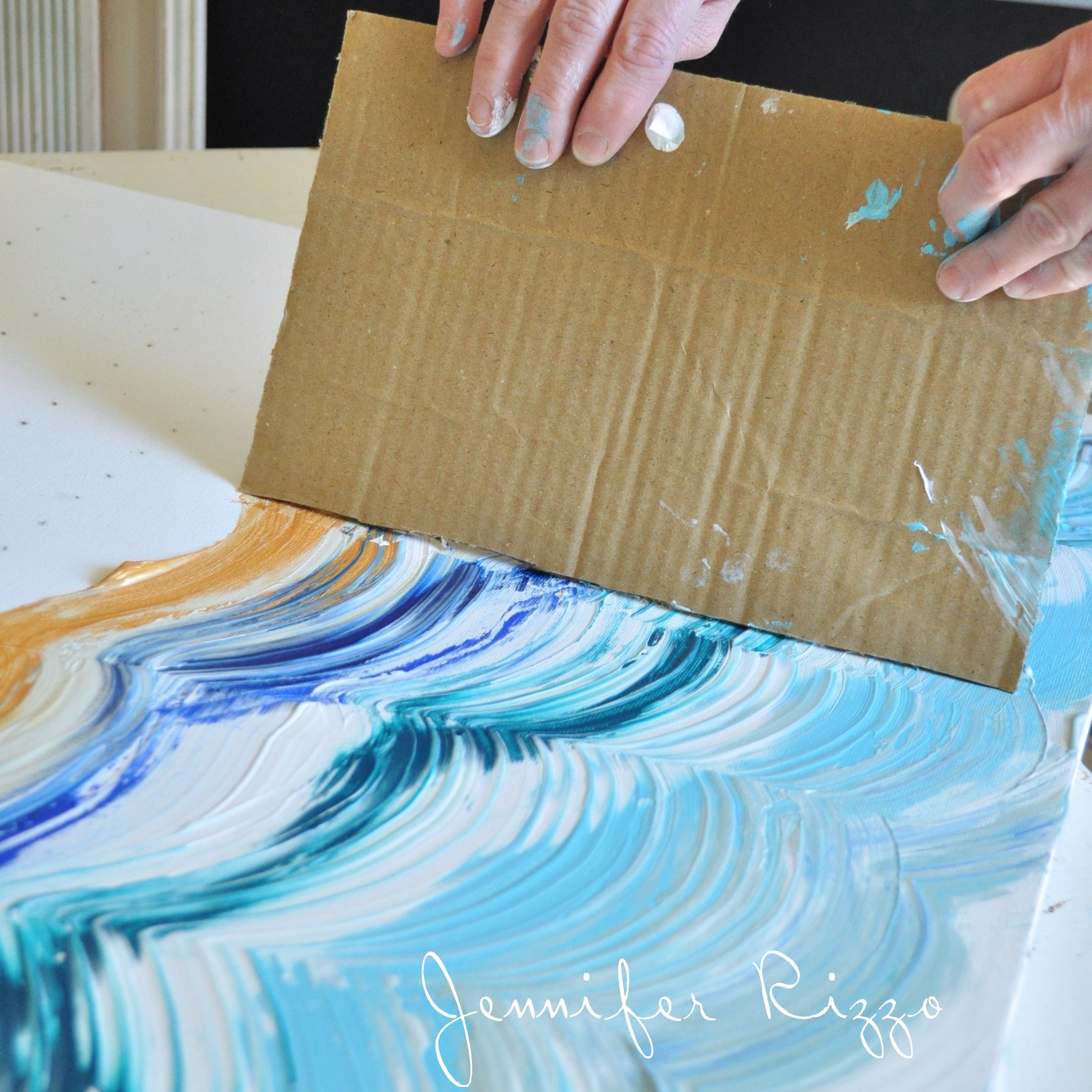How to do a fun acrylic painting of an agate inspired pattern drag your card board across your paint to make your design a great way to make a striped or striated pattern solutioingenieria