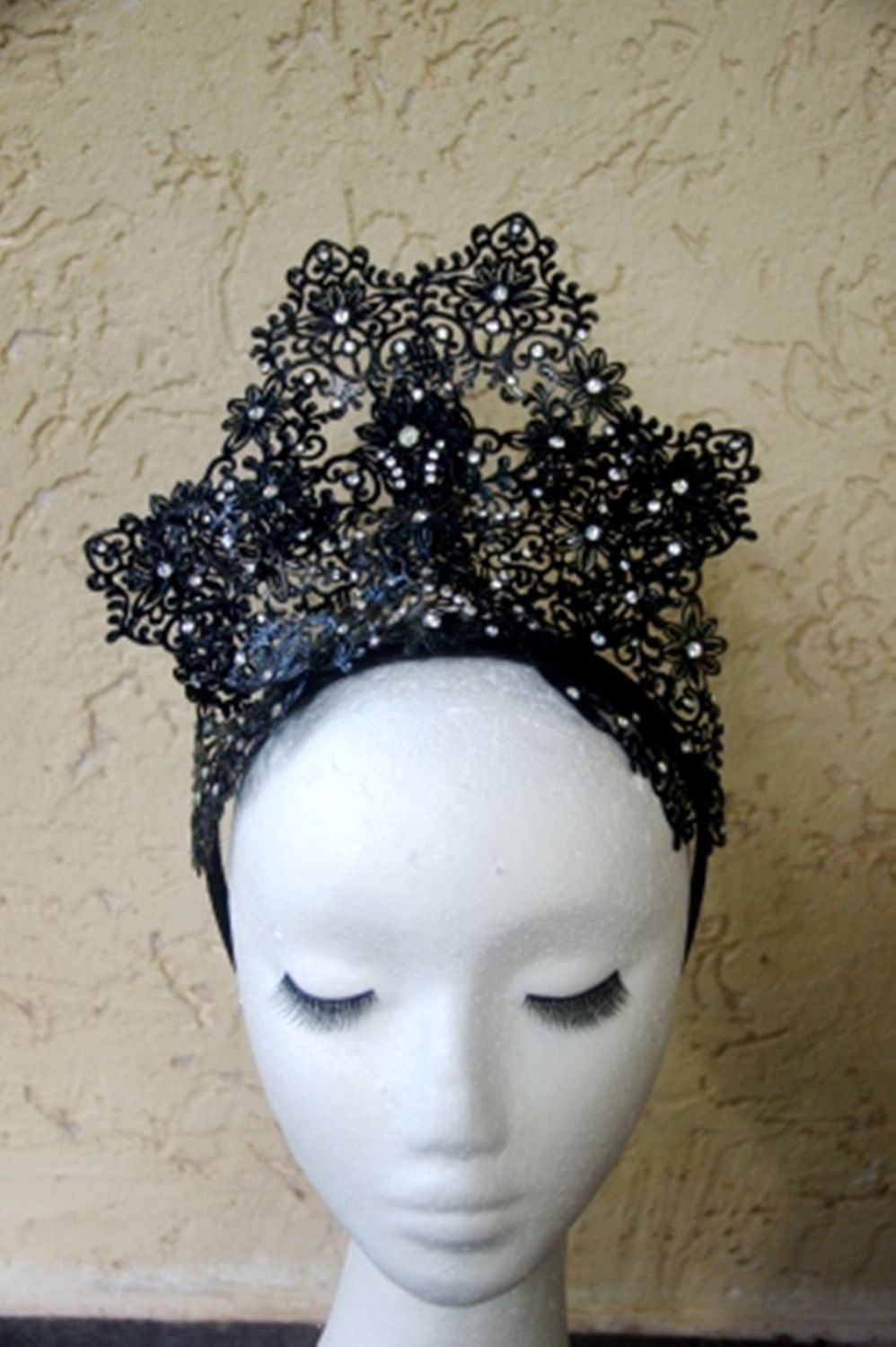 Desinger metal lace fascinator one of a kind. Black Crown with diamante  headband by TwistedInTheTropics on Etsy 49316a2b429