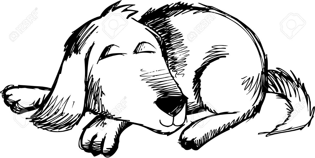 sleeping dog clipart black and white [ 1300 x 652 Pixel ]
