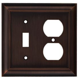 allen   roth 2-Gang Oil Rubbed Bronze Combination Metal Wall Plate; Lowe's #140279 - Z1768TD - EORB-N