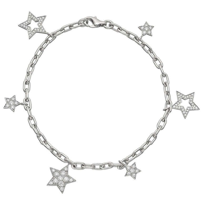 Tiffany & Co Platinum & Diamond Star Charm Bracelet