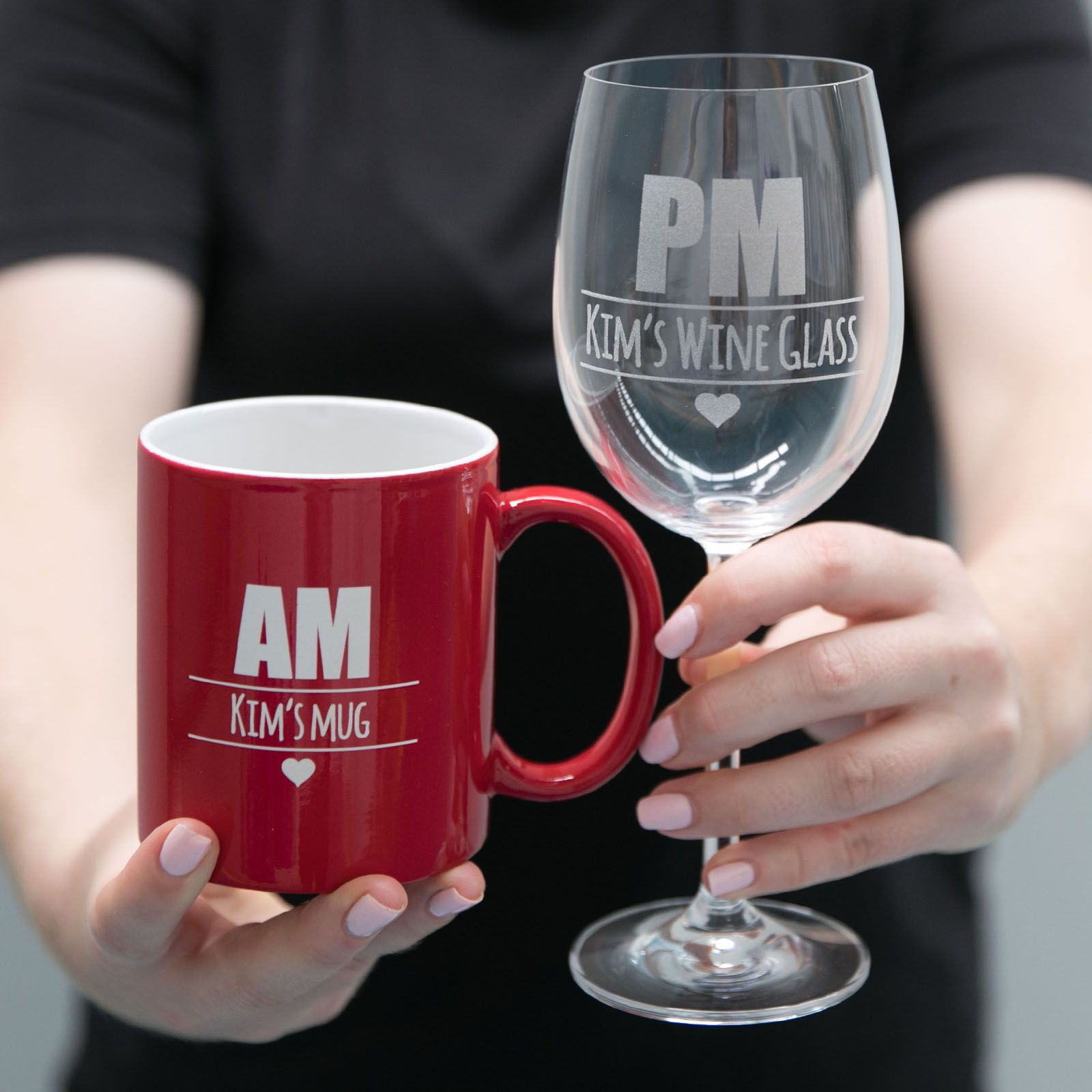 Our Am Pm Set Is A Fun Gift That Is Sure To Get A Laugh From Your Mum On Mother S Day It Is Professionally Laser Eng Wine Glass Set Mugs