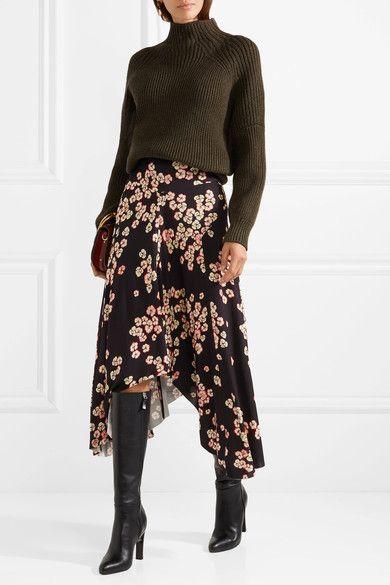 7c6fc44422a ISABEL MARANT flouncy Dracen asymmetric floral-print stretch-jersey midi  skirt