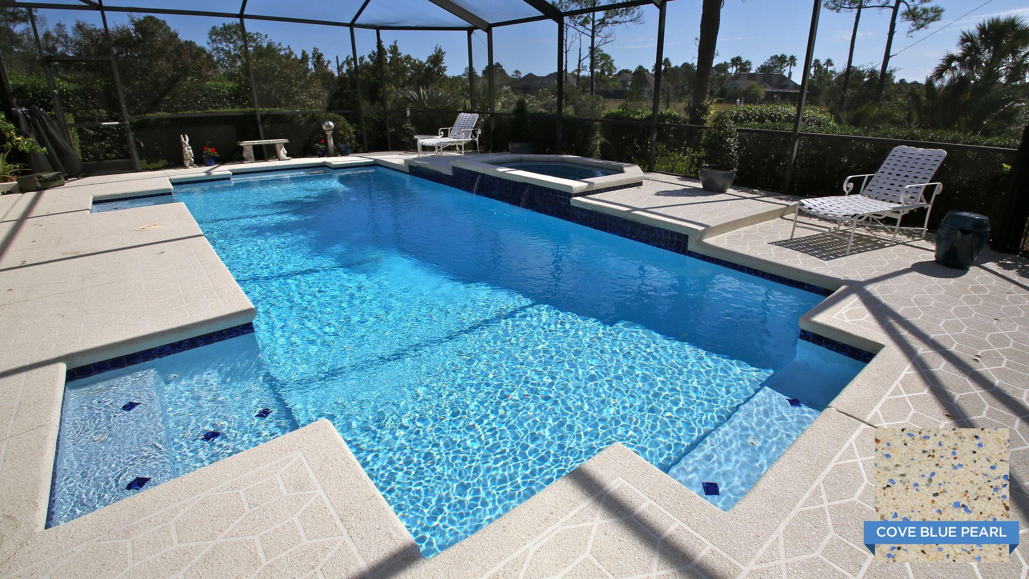 Sunstone Pearl Cove Blue even looks great in backyard