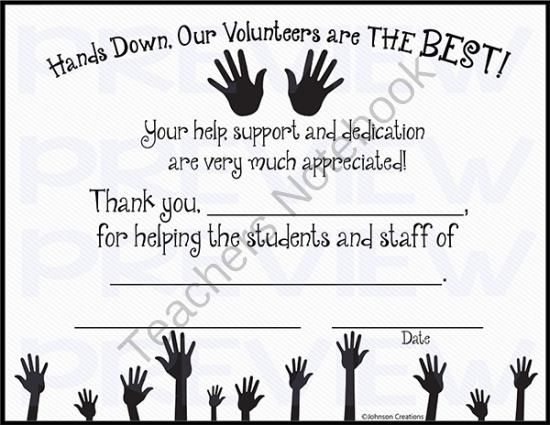Hands Down, Our Volunteers are THE BEST! Certificate Classroom - fresh certificate of appreciation for donation wording