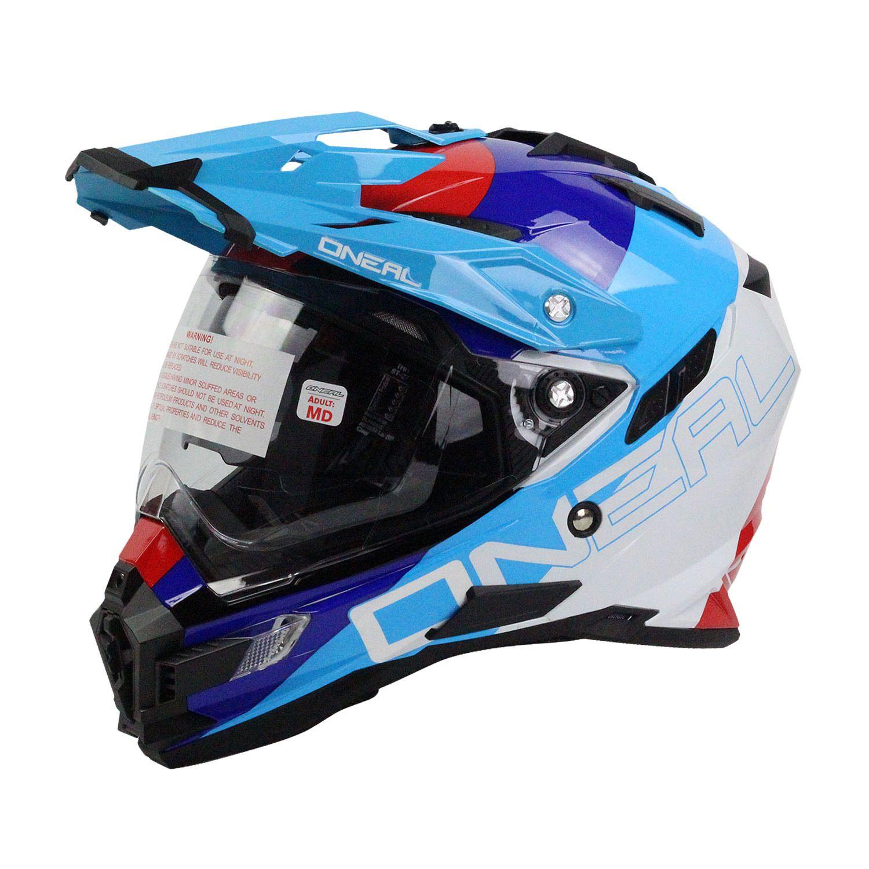 2cfc6976 Oneal NEW 2018 Sierra Dual Sport Edge White Blue Motorcycle Adventure Helmet