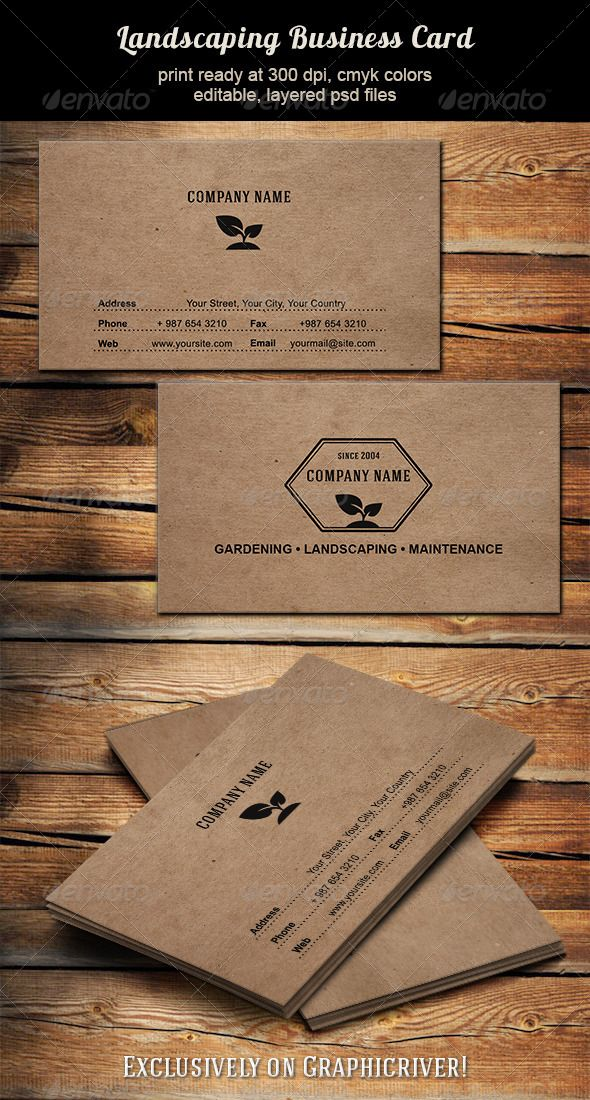 business card for landscaping  gardening  lawn maintenance    business