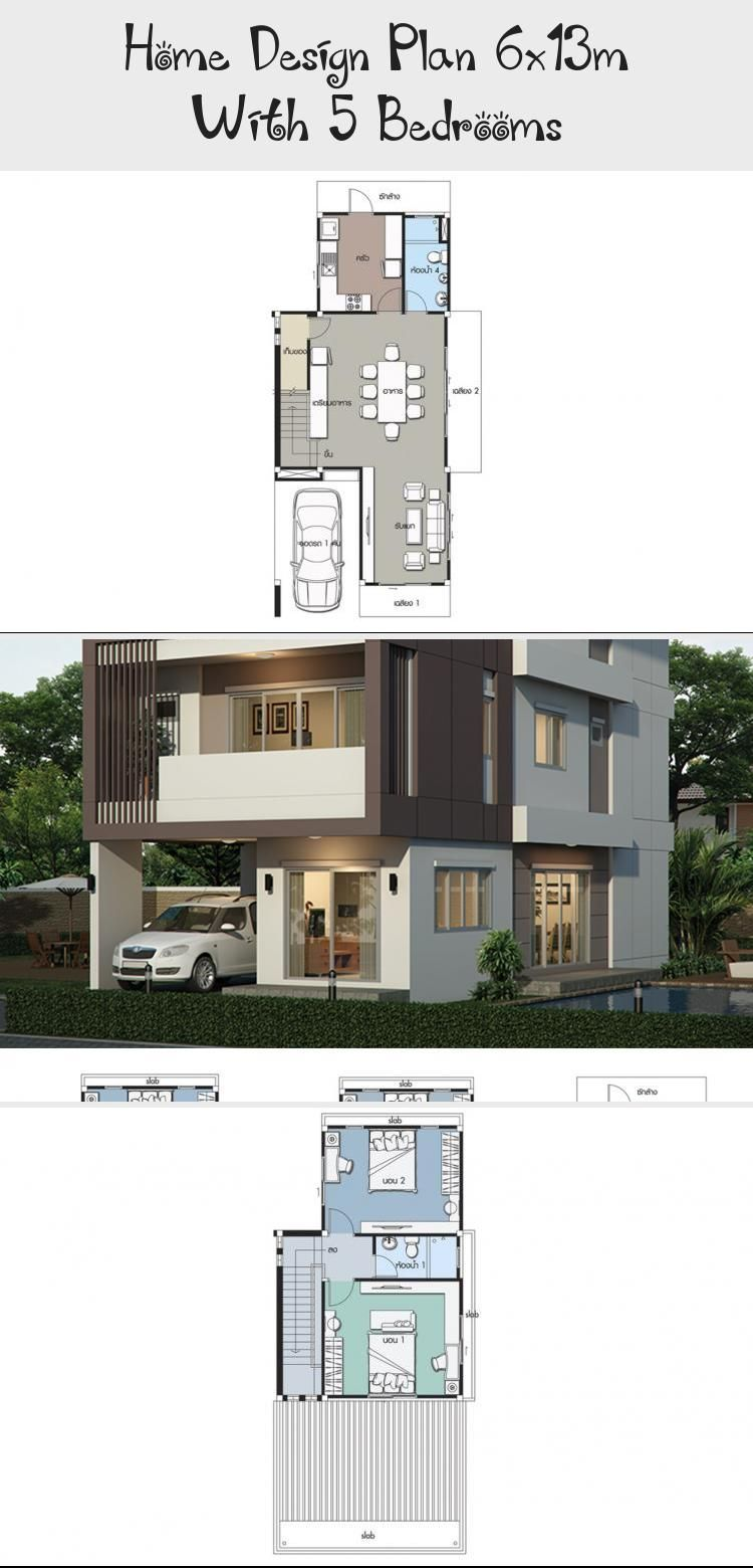 Home Design Plan 6x13m With 5 Bedrooms Style Modernhouse Description Number Of Floors 3 Storey Housebedroom 5 Roomstoilet 4 Roomsmaid S Room Shophouseplans S Em 2020
