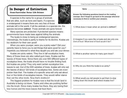 In Danger Of Extinction Reading Comprehension Reading