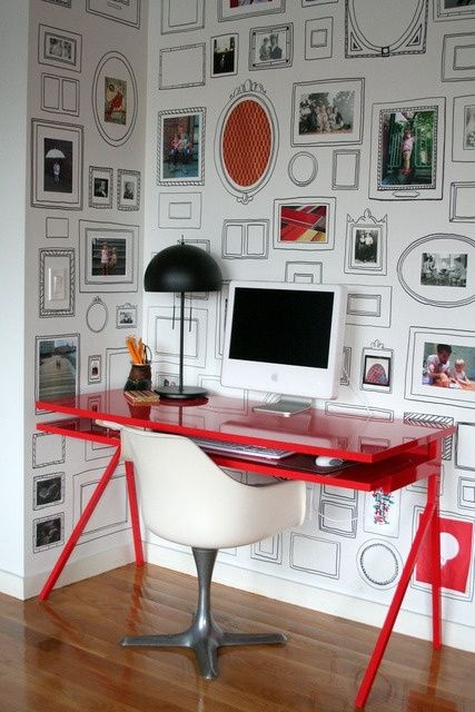 Gorgeous hand-drawn trompe l'oeil picture frames. (Could achieve a similar look with wallpaper...) by marcy