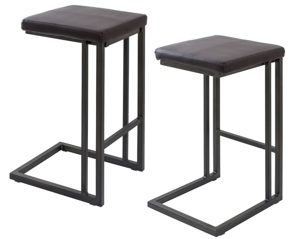 2 Square Metal Counter Height Stools High Cushion Brown Chair Mid
