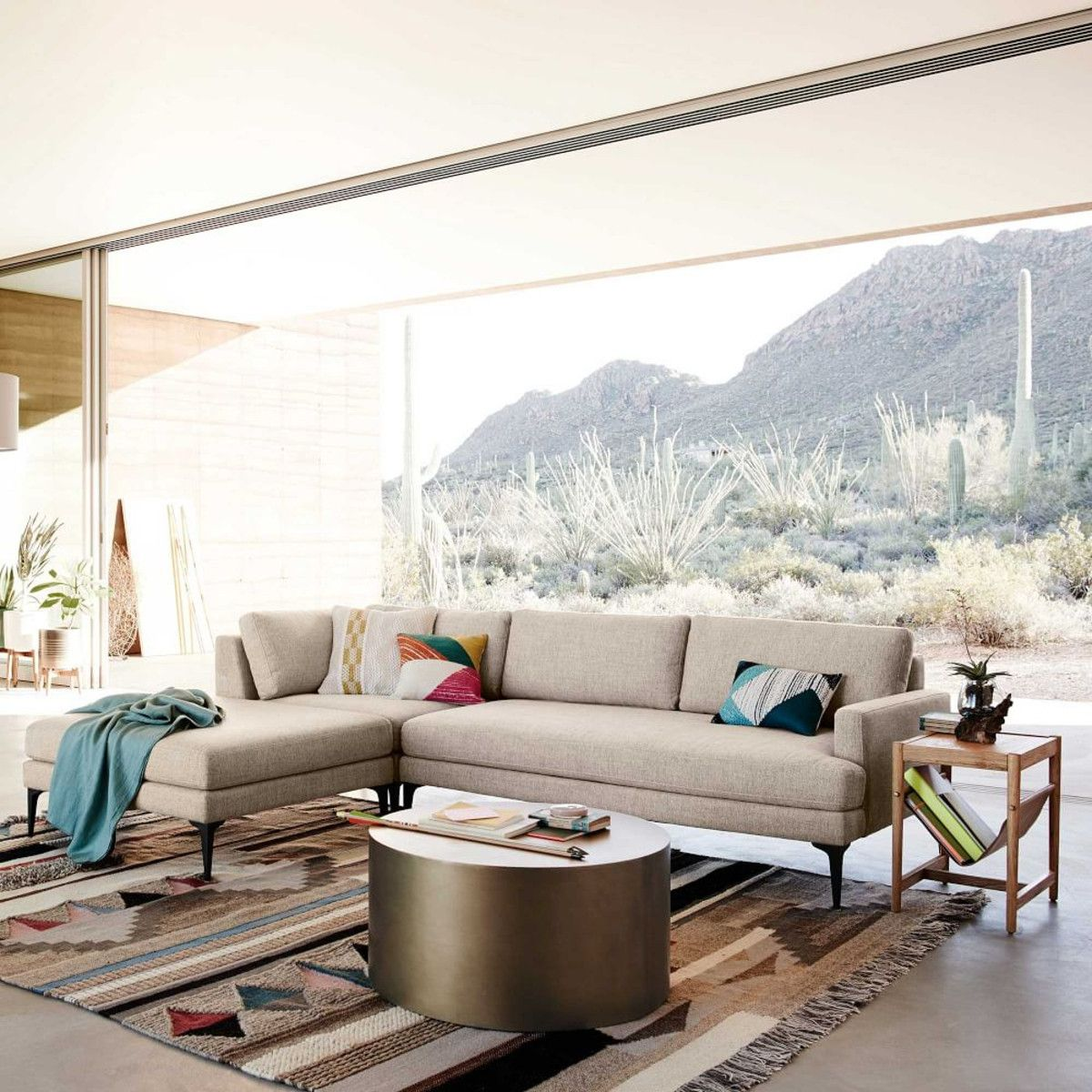 Andes 3-Piece Chaise Sectional | Mid century, Shelves and Window view