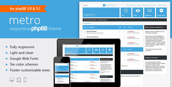 metro a responsive theme for phpbb3 simple designs template and