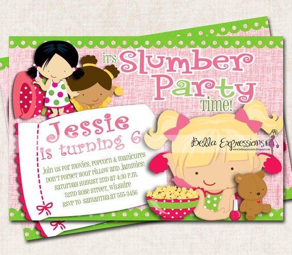 Sleepover Birthday Party Invitation, slumber party, pink green, girls (Digital File) SALE
