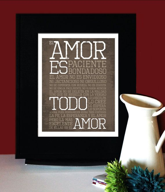 1 Corintios 13: LOVE AMOR, Inspirational Quote Spanish, Art for Print, Subway Art.. $22.00, via Etsy.