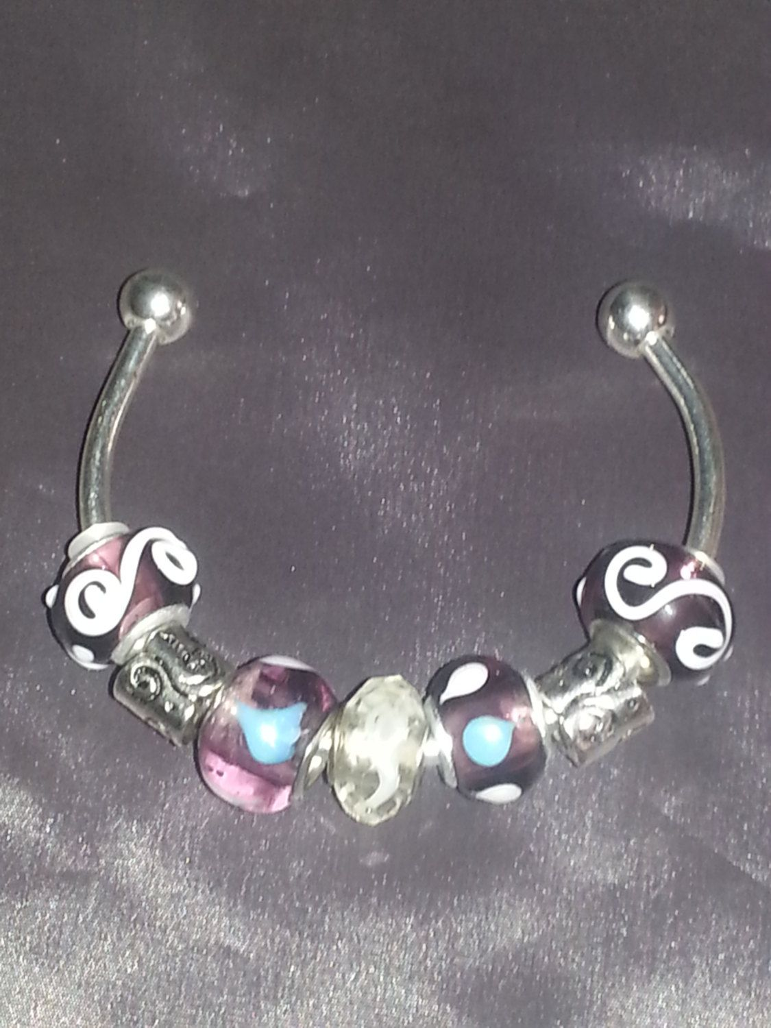 Sterling silver  plated Bangle bracelet with Euro by ILoveBeads247, $11.00