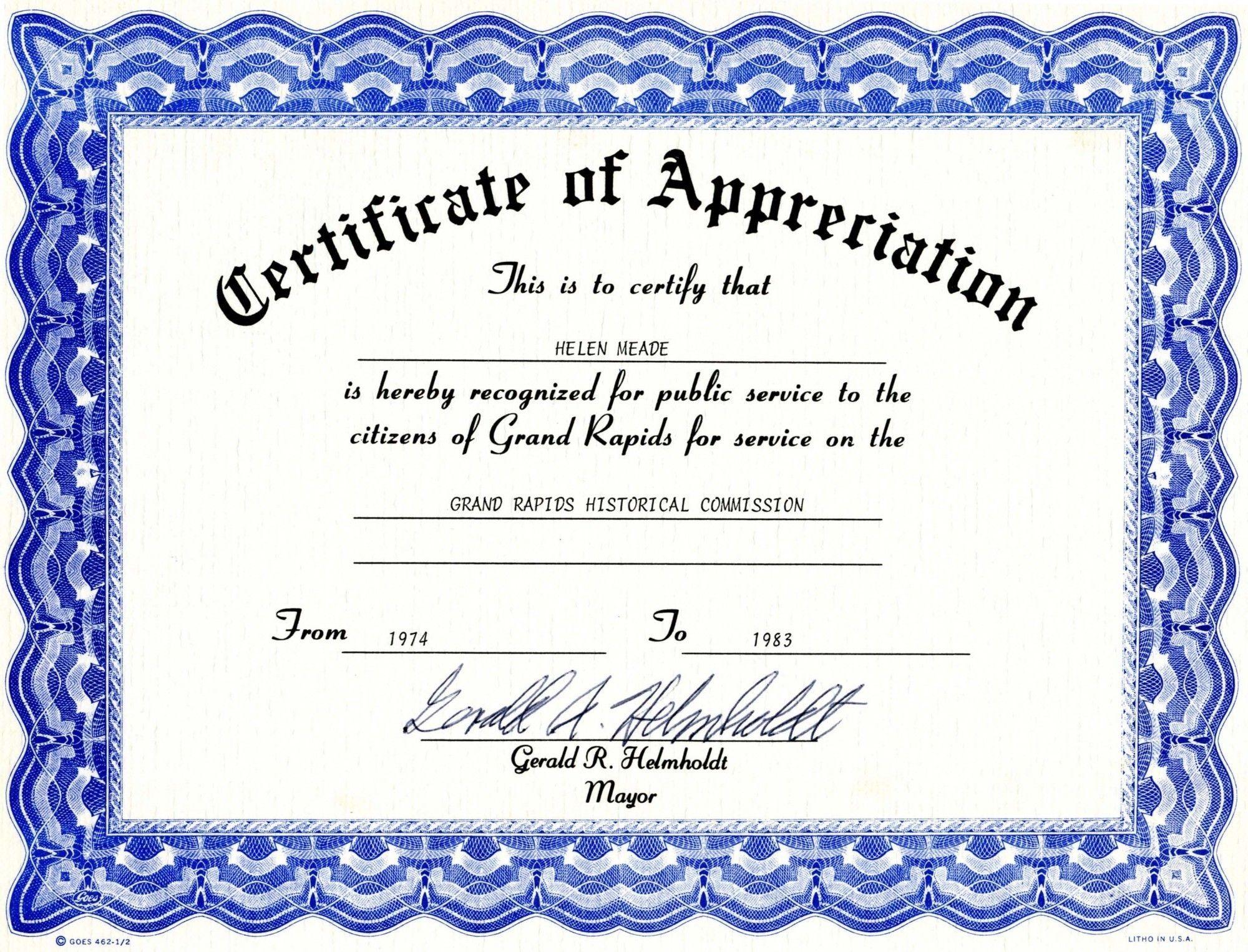 Certificate Of Appreciation Template Free Certificate Templates