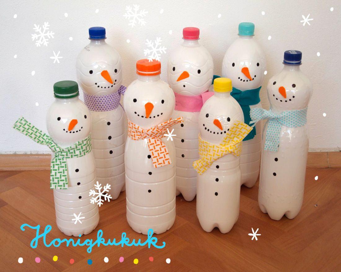 Schneemann-Kegelspiel basteln aus Plastikflaschen