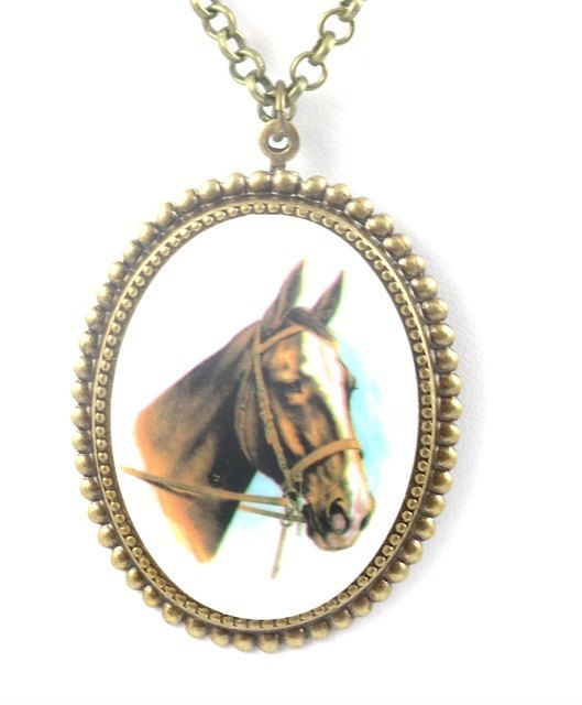 Dark Horse Cameo Brass Necklace Horse Cameo by TashaHusseyDesigns, $42.00