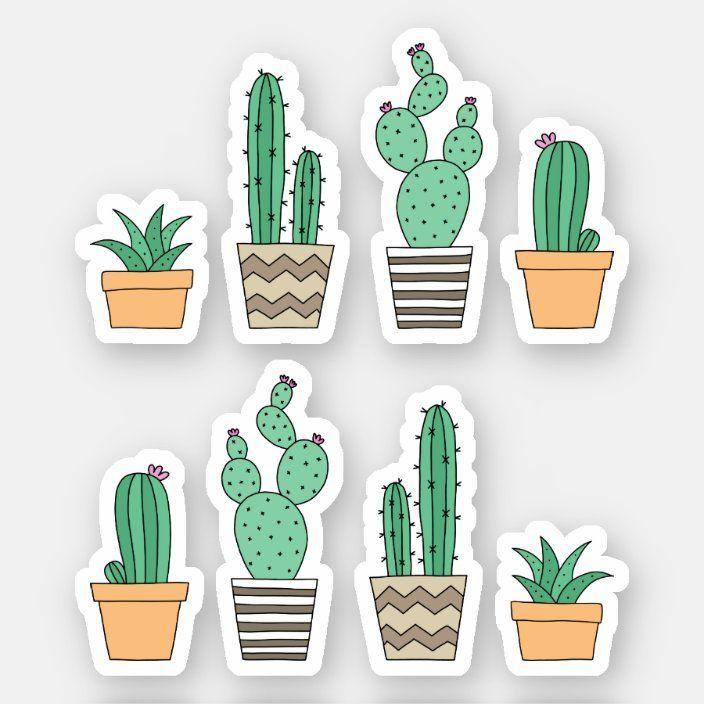 Cactus cacti succulent stickers | Zazzle.com