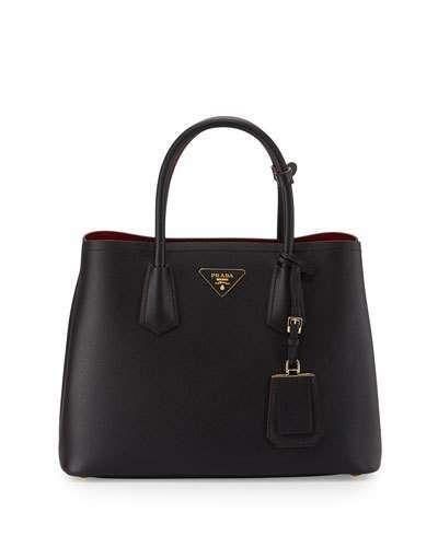 3e33aa12b280a3 Women's Handbag - Prada Saffiano Cuir Double Medium Tote Bag, Black/Red  (Nero+Fuoco) #handbag