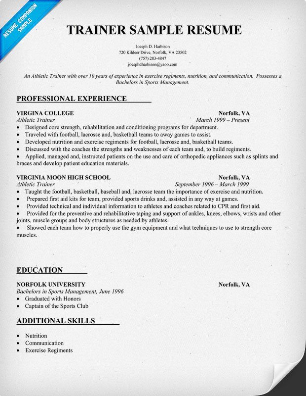 free trainer resume sample  teacher  teachers  tutor  resumecompanion com