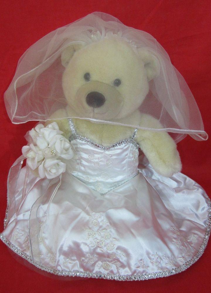 Build A Bear Bride Teddy Wife Wedding Gown Veil Garter Satin Slippers 16