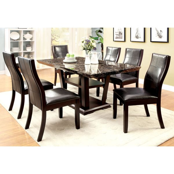 Furniture Of America Elivia Modern 7 Piece Faux Marble Dining Set