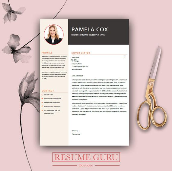 Teacher Resume Template  Cover Letter, Cv, Professional Modern
