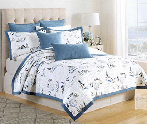 Max Studio Nautical Marine Design Bedspread 3pc Full/Queen Quilt Set  Coverlet Cotton Reversible Quilted