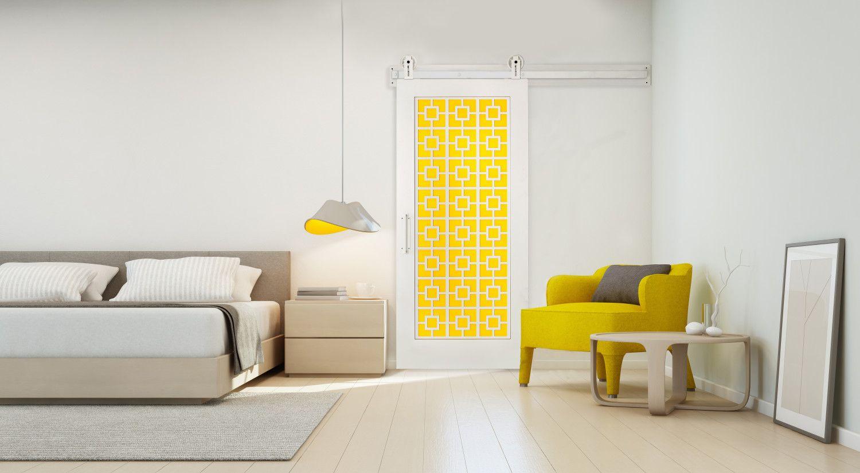 The Palm Springs Barn Door | Rustica Hardware | Yellow | Modern door Closet Doors Palm Springs on